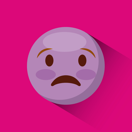 anguished: emoticon Anguished face icon over pink background. colorful design. vector illustration Illustration