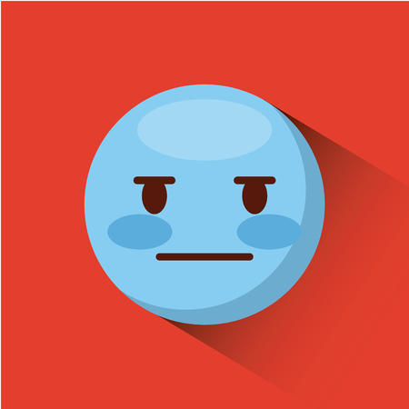emoticon with inexpressive face icon over red background. colorful design. vector illustration