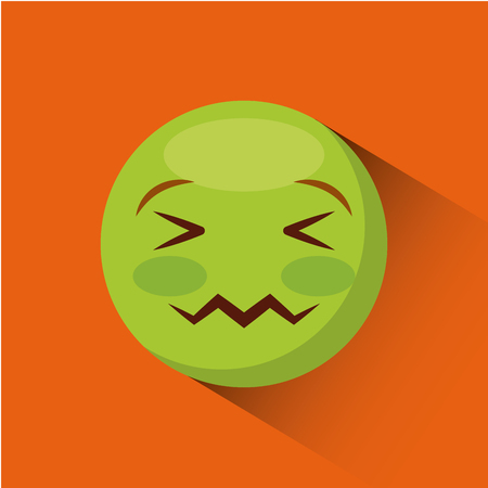 emoticon   Confounded  face  icon over orange background. colorful design. vector illustration