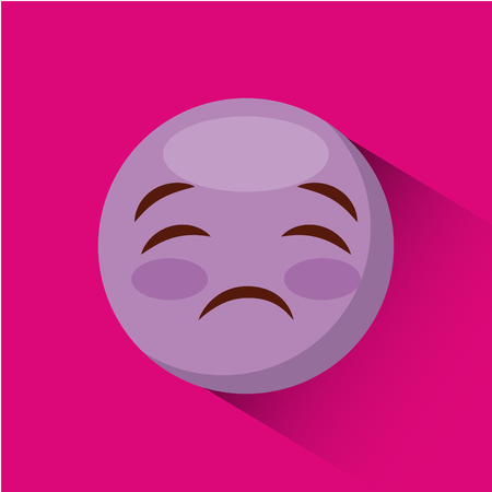 hilarious: emoticon sad face icon over pink background. colorful design. vector illustration