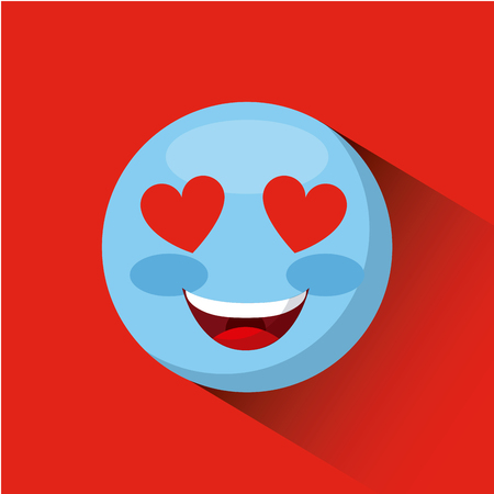 emoticon in love face icon over red background. colorful design. vector illustration