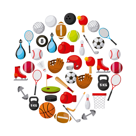 sports related icons in circle shape over white background. colorful design. vector illustration