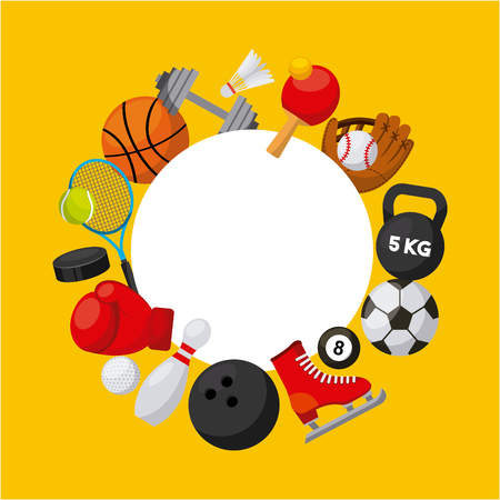 sport related icons in a circle shape over yellow background. colorful design. vector illustration