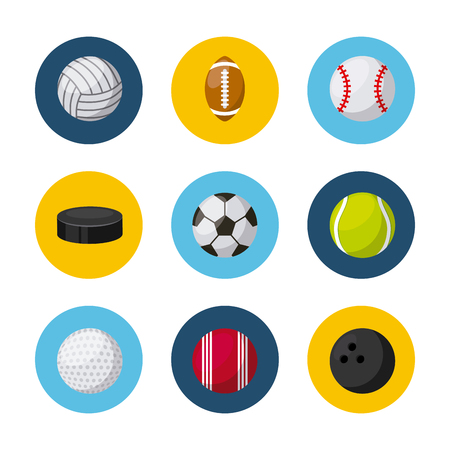 sports related icons over white background. colorful design. vector illustration