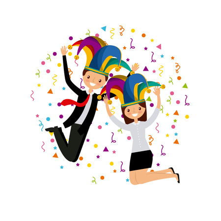 people having fun over white background. april fools day concept. colorful design. vector illustration