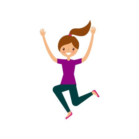 having fun: happy girl having fun cartoon icon over white background. colorful design. vector illustration