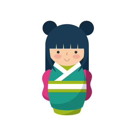 cute japanese girl wearing a kimono over white background. colorful design. vector illustration Illustration