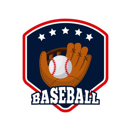 emblème de bouclier du sport de baseball avec icône boule et gant sur fond blanc. design coloré. illustration vectorielle