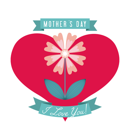 happy mothers day card with beautiful flower icon over white background. colorful design. vector illustration