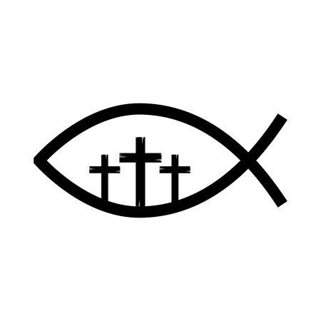 fish religious symbol with cross vector illustration design