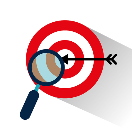 target with magnifying glass vector illustration design