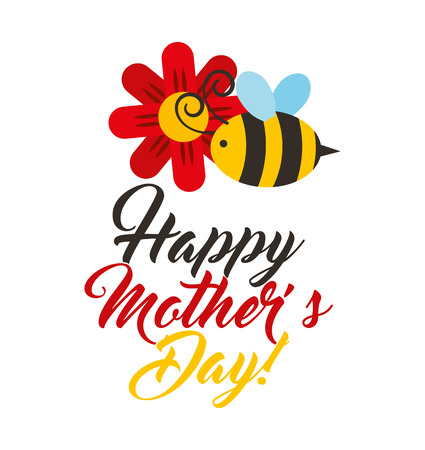 happy mothers day celebration card vector illustration design