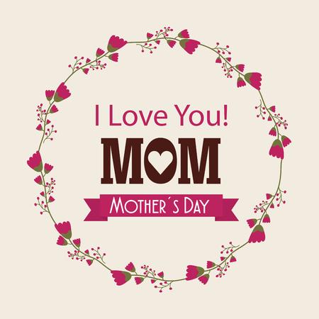 i love you mom card vector illustration design