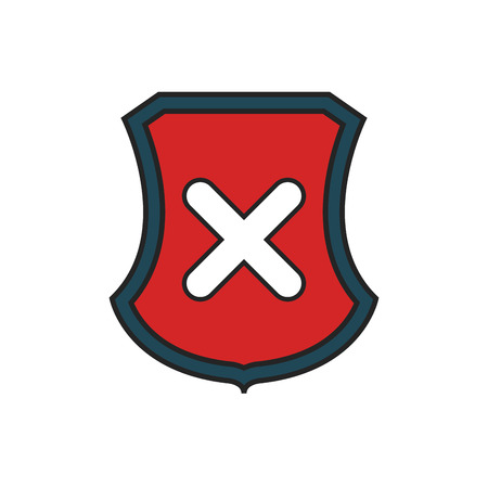 incorrect: shield with wrong icon over white background. vector illustration