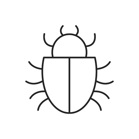 lcd: bug icon over white background. cyber security concept. vector illustration