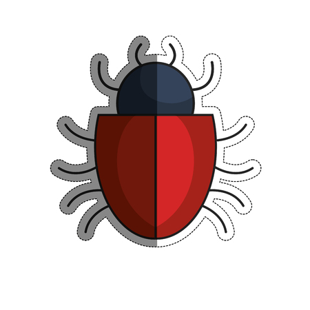 bug icon over white background. cyber security concept. vector illustration