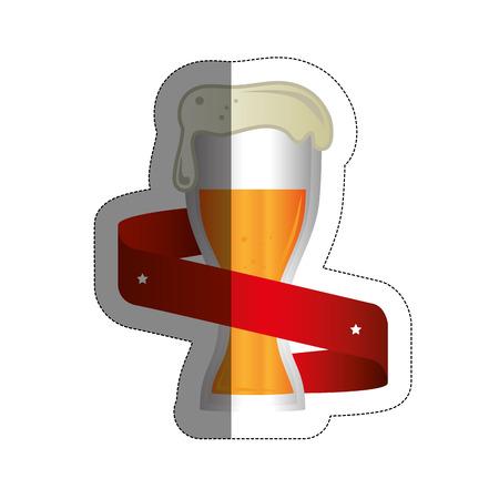jarra de cerveza: emblem with beer jar icon over white background. colorful design. vector illustration Vectores