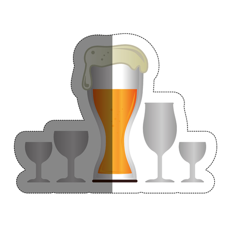 beer glass and drink glasses over white background. vector illustration