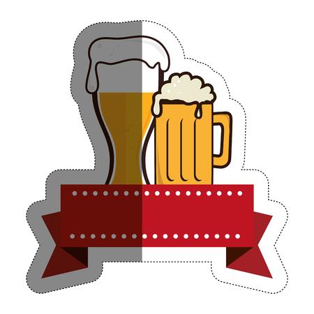 emblem with beer jar icon over white background. colorful design. vector illustration Illustration