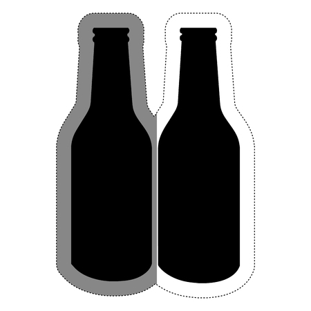 beer bottles over white background. vector illustration