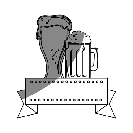 emblem with beer jars icon over white background. vector illustration