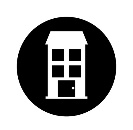 stage door: Building exterior front isolated icon vector illustration design. Illustration