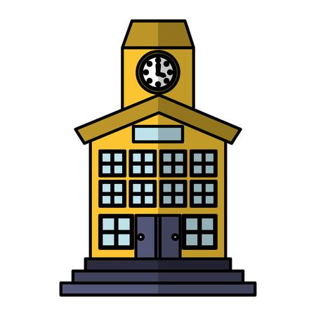 ortseingangsschild: Schulgebäude Front-Symbol Vektor-Illustration, Design.