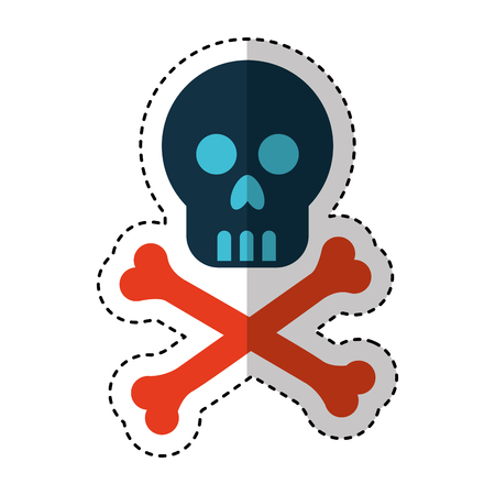 skull danger signal icon vector illustration design