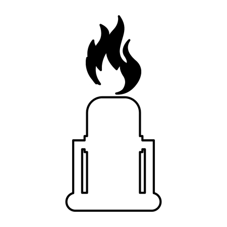 natural gas production: chimney with flame isolated icon vector illustration design
