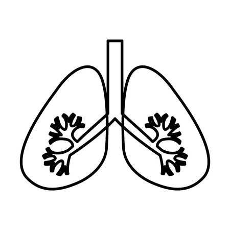 organisms: Lungs human organ icon vector illustration design Illustration