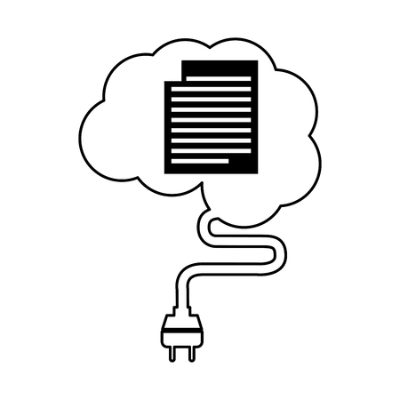 generating: brain connected with document vector illustration design
