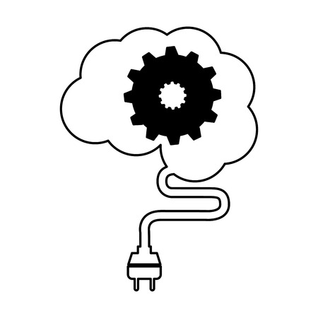 brain connected with gear vector illustration design