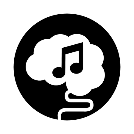 brain connected with music note vector illustration design
