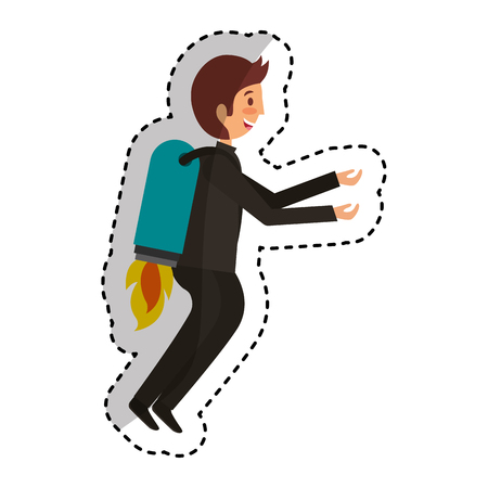 launcher: businessman with rocket avatar character icon vector illustration design