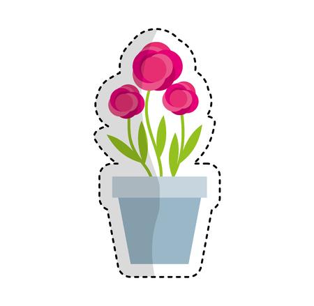 cute garden flower in pot vector illustration design