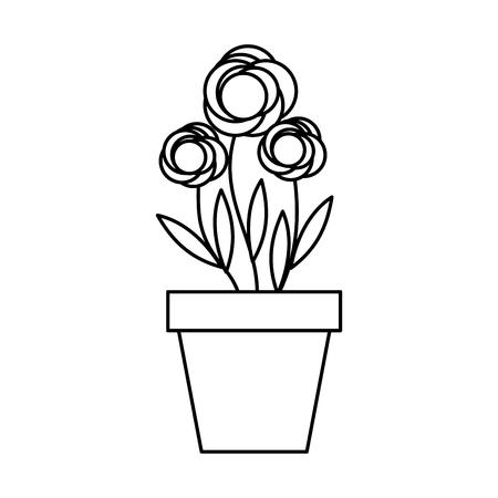 귀여운 정원 꽃 냄비 벡터 일러스트 디자인 일러스트