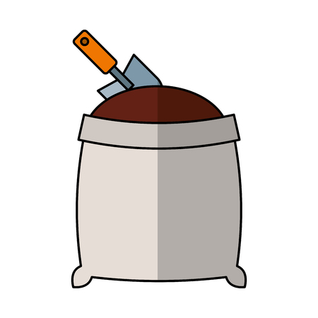 sand bag with shovel isolated icon vector illustration design