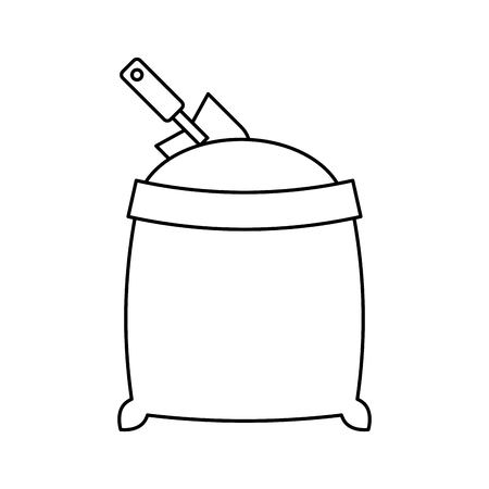grappling: sand bag with shovel isolated icon vector illustration design