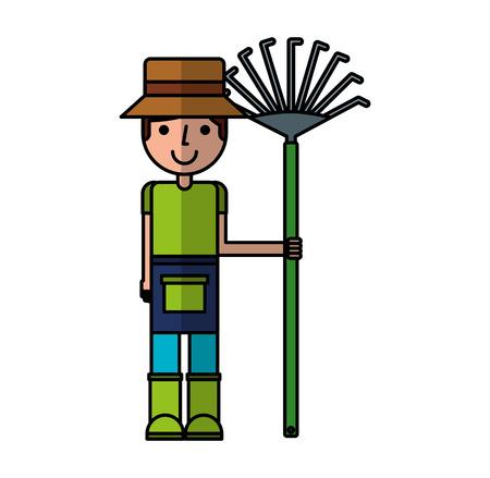 little gardener with rake character icon vector illustration design Illustration