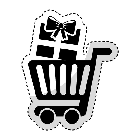 simple store: shopping cart with gift vector illustration design