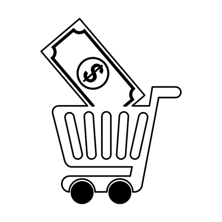 simple store: shopping cart with bill vector illustration design