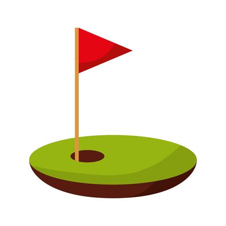 Agujero de golf con bandera de diseño de ilustración vectorial Foto de archivo - 74903654