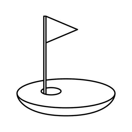 Agujero de golf con bandera de diseño de ilustración vectorial Foto de archivo - 74903659
