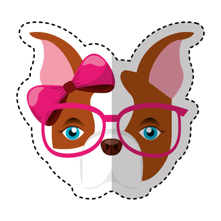 cute french bulldog female with hipster accessory vector illustration design Illustration