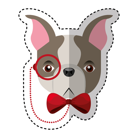 cute french bulldog male with hipster accessory vector illustration design Illustration