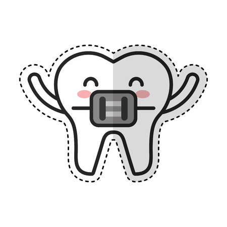 tooth with Orthodontic bracket character icon vector illustration design