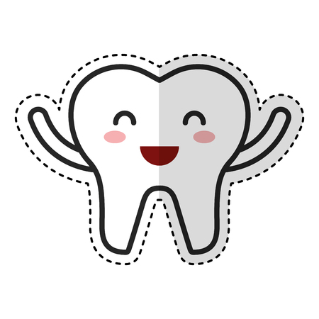 happy healthy tooth character icon vector illustration design Illustration
