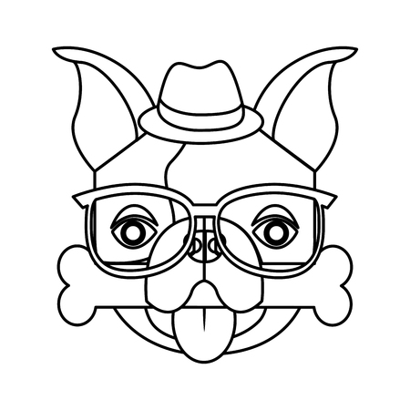 frenchie: cute french bulldog male with hipster accessory vector illustration design Illustration