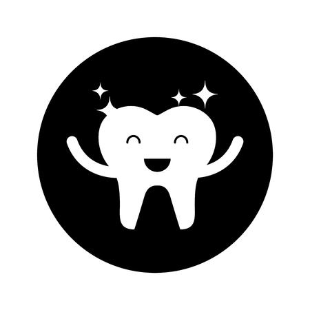 Glücklich gesunde Zahn Zeichen Symbol Vektor-Illustration Design Standard-Bild - 74909254