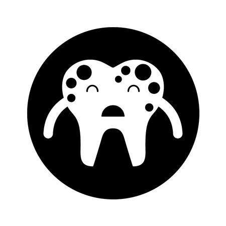 Zahn mit Flecken Zeichen Symbol Vektor-Illustration Design Standard-Bild - 74909255
